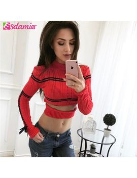 spring-autumn-sexy-cut-out-cropped-sweater-for-women-fashion-lace-up-knitted-sweater-pull-femme-o-neck-pullovers-and-sweaters by aliexpresscom
