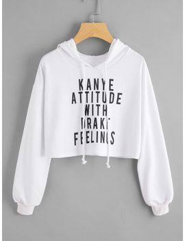 drop-shoulder-slogan-print-crop-hoodie by romwe