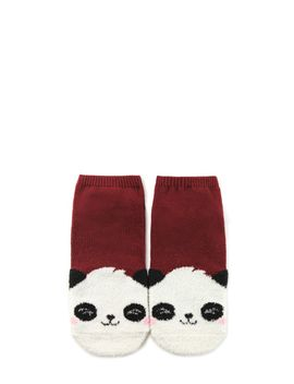 fuzzy-panda-contrast-ankle-socks by forever-21