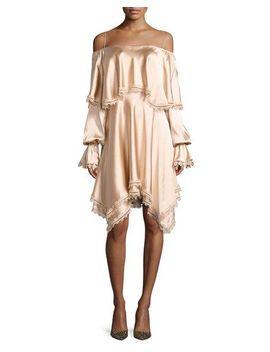 off-the-shoulder-long-sleeve-fluid-sateen-short-dress by jonathan-simkhai
