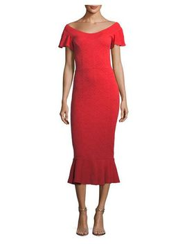 lotus-off-the-shoulder-jacquard-midi-dress by opening-ceremony