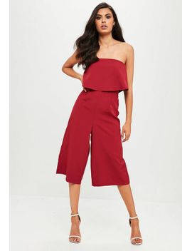 burgundy-crepe-double-layer-culotte-jumpsuit by missguided