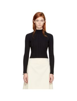 black-cropped-lace-rib-turtleneck by mcq-alexander-mcqueen