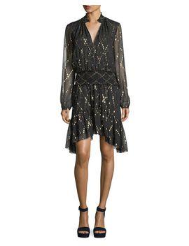 tula-split-neck-long-sleeve-silk-metallic-dress by alc