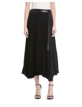 anika-pleated-a-line-midi-skirt by alc
