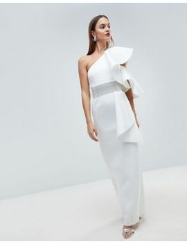 asos-edition-scuba-one-shoulder-ruffle-maxi-dress-with-detachable-diamante-belt by asos-edition