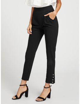 pearl-button-hem-tailored-pants by shein