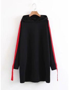 contrast-tape-hooded-sweatshirt-dress by sheinside