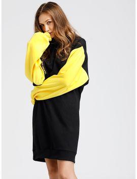 contrast-sleeve-strap-detail-sweatshirt-dress by sheinside