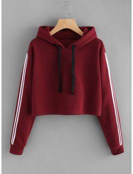 striped-sleeve-crop-hoodie by sheinside