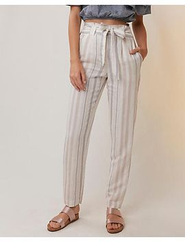 striped-linen-blend-sash-waist-ankle-pant by express