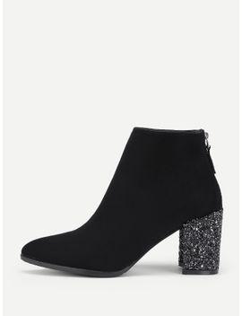 glitter-heeled-back-zipper-ankle-boots by sheinside