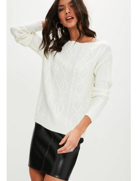 pull-blanc-mailles-torsadées by missguided