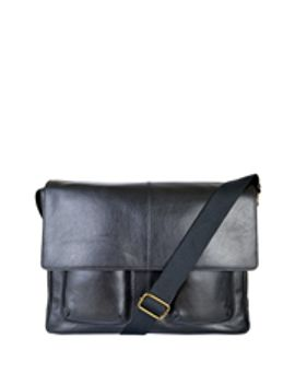 vincent-large-leather-messenger-satchel:-black by things-terrific