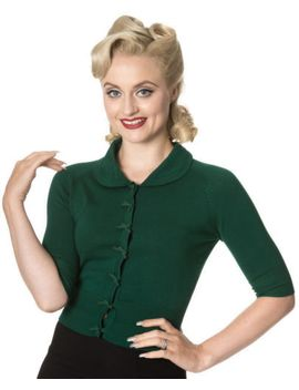 banned-50s-rockabilly-plain-peter-pan-collar-cardigan-retro-top-green-s-m-l-xl by banned-apparel