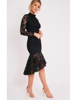 ellina-black-lace-fishtail-midi-dress by prettylittlething
