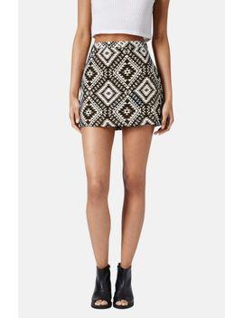 geo-jacquard-miniskirt by topshop