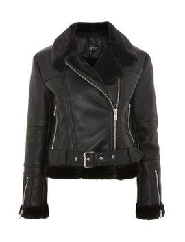 faux-shearling-cropped-biker-jacket by topshop