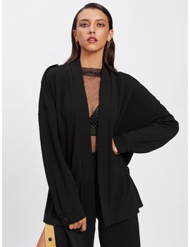 stitched-neckline-drop-shoulder-wrap-coat by shein