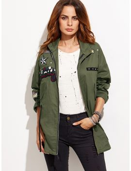 army-green-patch-zipper-coat-with-drawstring by sheinside