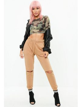 brown-rip-knee-joggers by missguided