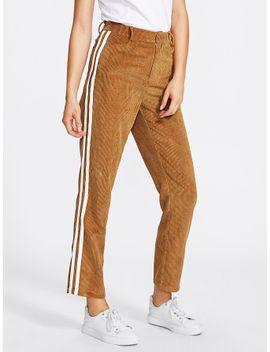 striped-side-cord-pants by sheinside