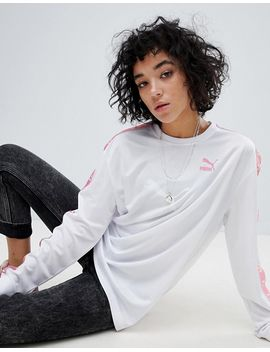 puma-exclusive-to-asos-soccer-jersey-in-white-with-pink-taped-side-stripe by puma