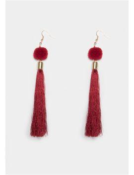 grace-wine-pom-pom-tassel-earrings by missy-empire