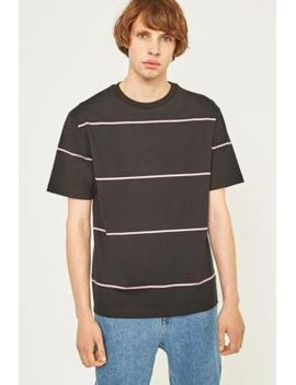 uo-black-and-pink-horizontal-stripe-t-shirt by urban-outfitters