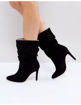 london-rebel-rouched-low-height-stiletto-boot by shoes