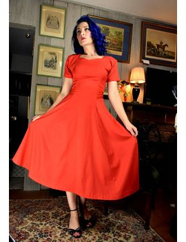 1950s-vintage-red-swing-dress-with-silk-bow-|-pin-up-rockabilly-dress-|-red-dress-|-burlesque-dress-|-vintage-swing-dress by etsy