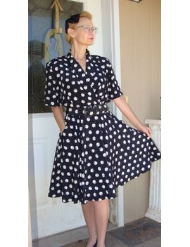 vintage-80s-dress-a-1940s-reproduction-black-retro-cream-polka-dots-shoulder-pads-short-sleeve-housewife-pinup-career-church-size-8 by etsy