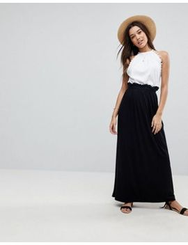 asos-design-maxi-skirt-with-paperbag-waist by asos-collection