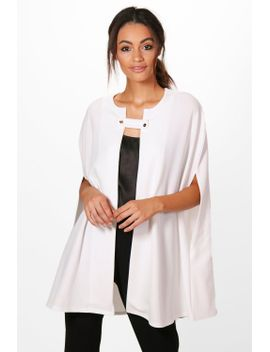 rebecca-button-front-cape by boohoo