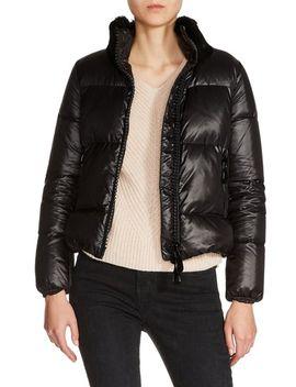 genuine-rabbit-fur-trim-down-jacket by maje