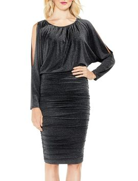 cold-shoulder-ruched-dress by vince-camuto