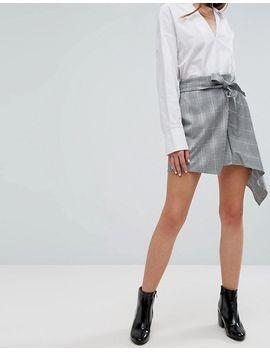 bershka-heritage-check-asymmetric-skirt by bershka