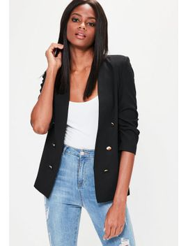 black-crepe-gathered-sleeve-button-blazer by missguided