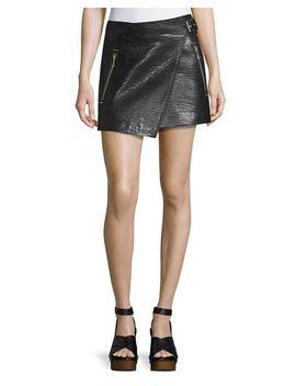 kakili-leather-wrap-front-mini-skirt,-black by etoile-isabel-marant