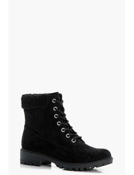 shearling-collar-hiker-boots by boohoo