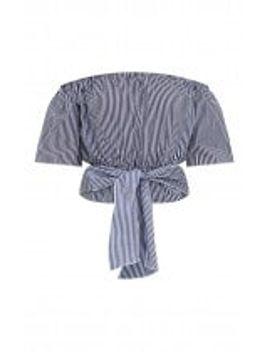 navy-stripe-shortsleeve-bardot-tie-waist-shirt by prettylittlething