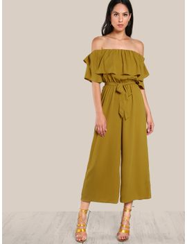 shein flounce-off-shoulder-self-tie-culotte-jumpsuit by sheinside