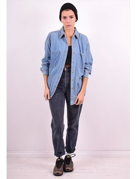womens-vintage-denim-shirt-large-blue-90s by no-brand-name