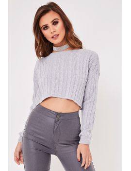 victoria-grey-cable-knit-cropped-jumper by misspap