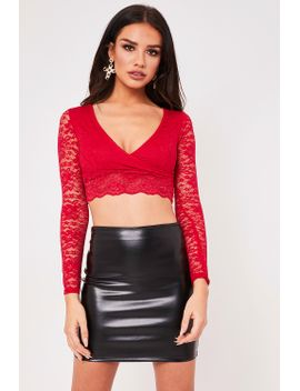 gemma-red-wrap-front-lace-crop-top by misspap