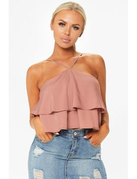 candy-rose-high-neck-ruffle-crop-top by misspap