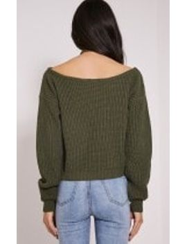 khaki-off-the-shoulder-crop-sweater by prettylittlething