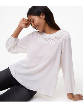 floral-lace-mixed-media-top by loft