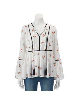 womens-lc-lauren-conrad-floral-velvet-trim-peasant-top by kohls