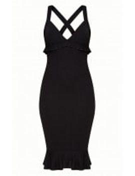 black-frill-detail-midi-dress by prettylittlething